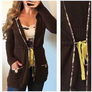 ANTHROPOLOGIE SPARROW Brown Hooded Tie Cardigan SM